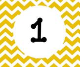 Yellow Chevron Calender numbers 1-31