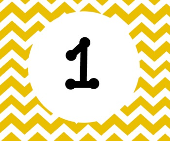 Yellow Chevron Calender numbers 1-31