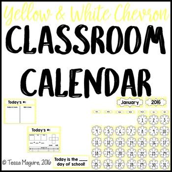 Yellow Chevron Classroom Calendar