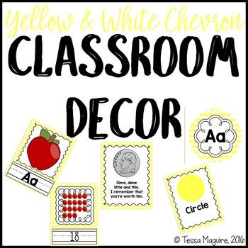 Yellow Chevron Classroom Decor {Editable}