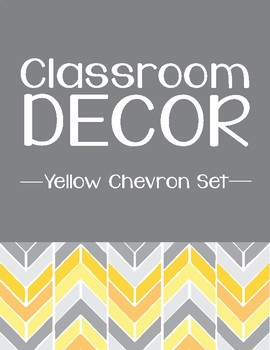 Yellow Chevron Classroom Decor Set
