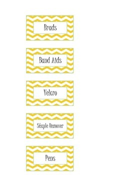 Yellow Chevron Classroom Labels