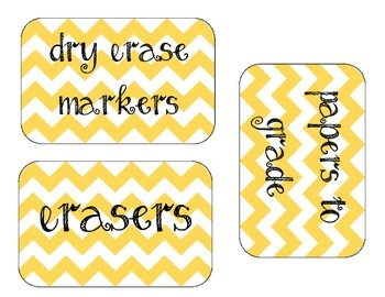 Yellow Chevron Classroom Organization Labels