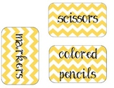 Yellow Chevron Classroom Organization Labels
