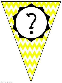 Yellow Chevron Classroom Pennants and Bunting (Letters, Numbers, Punctuation)