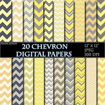 Yellow Chevron Digital Papers White Papers Zigzag Scrapbooking Printable