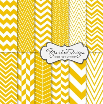 Yellow Chevron Digital Scrapbooking Paper Set, 12 Digital Paper Sheets