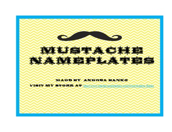Yellow Chevron Mustache Nameplates