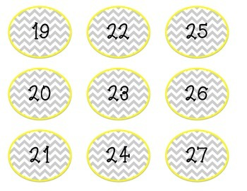 Yellow Chevron Number Labels