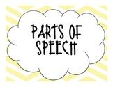 Yellow Chevron Parts of Speech Posters