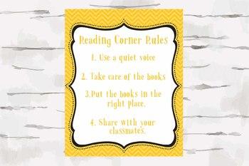 Yellow Chevron Reading Corner Rules, 8x10 jpg
