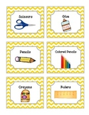 52 Yellow Chevron Supplies Labels