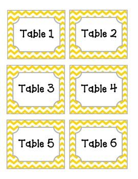 Yellow Chevron Table Labels