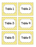 Yellow Chevron Table Labels