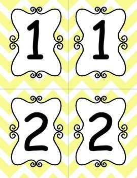 Pastel Yellow Chevron Table Numbers 1-10