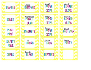 Yellow Chevron Teacher Drawers & Toolbox Labels {Editable}