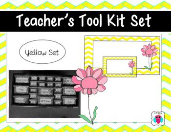 Yellow Chevron Teacher Tool Box Set