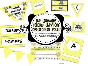 Yellow Chevron Ultimate Decoration Pack