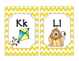 Yellow Chevron Word Wall Alphabet