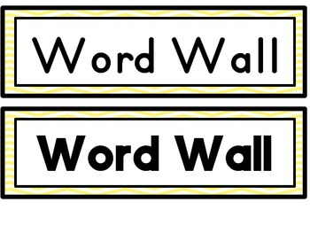 Yellow Chevron Word Wall Headers
