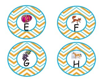 Yellow Chevron Word Wall Letters