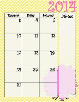 Yellow Chevron and Pink Calendar July 2014 - July 2015