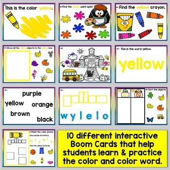 Yellow Color Recognition Color Word Boom Cards (Learning Colors - Yellow)