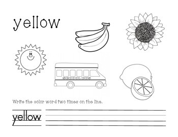 Yellow Color and Write Worksheet