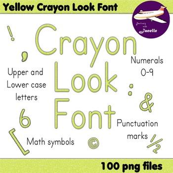 Alphabet Clip Art Yellow Crayon Look -Numerals, Punctuatio