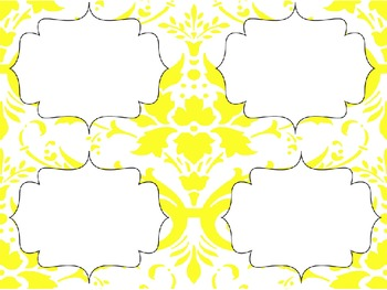 Yellow Damask Editable Labels