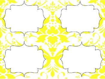 Yellow Damask Editable Labels