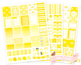 Yellow Damask Printable Weekly Planner Stickers fits Erin Condren Planner