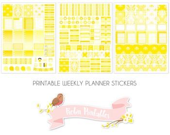 Yellow Damask Printable Weekly Planner Stickers fits Erin Condren Planner