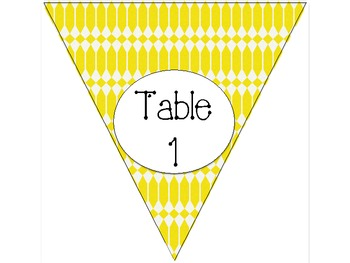 Yellow Design Table Numbers