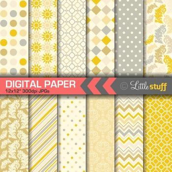 Yellow Digital Paper Pack, Yellow Digital Backgrounds