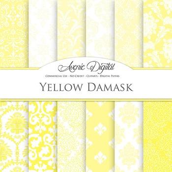 Yellow Digital Paper patterns ornate wedding scrapbook backgrounds