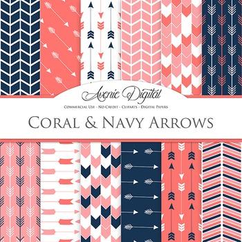 Coral & Navy Digital Paper patterns tribal arrows pink blue scrapbook background