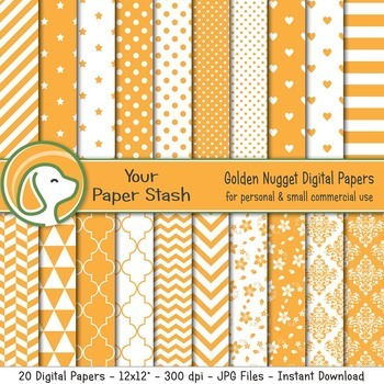Yellow Digital Scrapbook Papers & Backgrounds with Stars Stripes & Chevrons