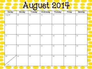 Yellow Dots 2014-2015 Academic Calendar