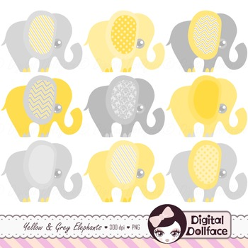 Yellow Elephant Clipart / yellow and gray