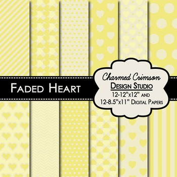 Yellow Faded Heart Digital Paper 1325
