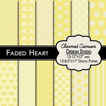 Yellow Faded Heart Digital Paper 1325