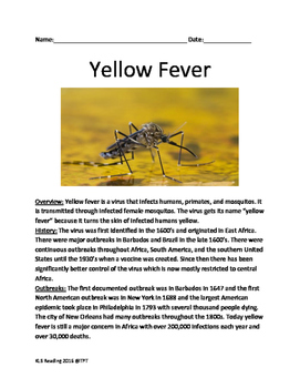 Yellow Fever - informational article lesson facts question