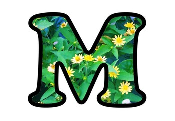 Yellow Flowers Bulletin Board Letters, Numbers, Symbols, Spring Classroom Decor