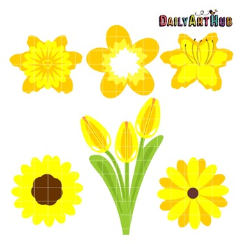 Yellow Flowers Clip Art - Great for Art Class Projects!