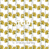 Yellow Flowers Pattern on White digital paper Printable Tracey Gurley Designs