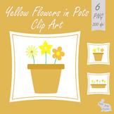 Flowers  Plant Pots Clip Art Yellow Clipart Spring Summer Garden