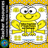 Yellow Frog Dolch First Grade Sight Word Flashcards and Posters