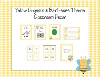 Yellow Gingham and Bumblebees Theme Classroom Decor