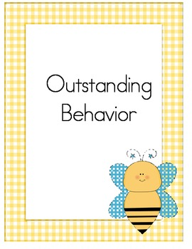 Yellow Gingham and Bumblebees Behavior Clip Chart